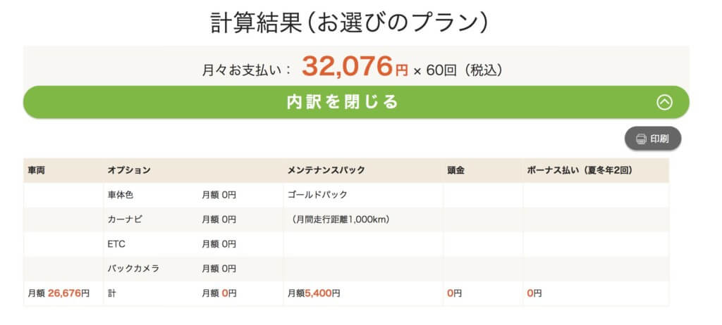 N-BOX見積もり月額料金