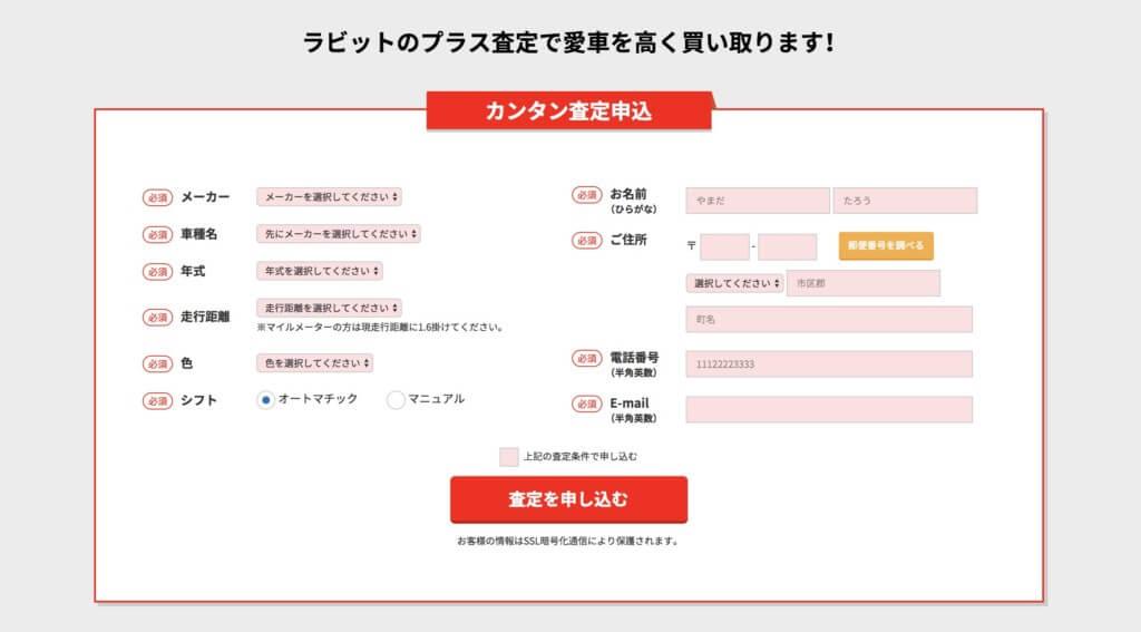 車とユーザーの情報を入力するフォーム